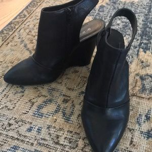 BCBGeneration Open Back Leather Ankle Boots
